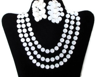 "Vintage Hippie Era Long Three (3) Strand Faceted White Plastic Lucite  Disk  48"" Necklace and Waterfall Earrings Set"