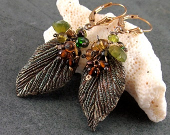 Petrol tourmaline earrings, handmade recycled fine silver leaf earrings w chrome diopside, pyrite & vesuvianite-OOAK mixed metal jewelry