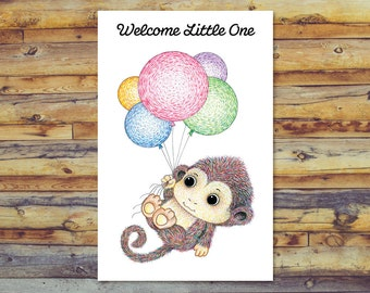 Monkey Baby Shower Card, Printable New Baby Card, Digital Download, Instant Download, Welcome Baby, Welcome Little One, Baby Boy, Baby Girl