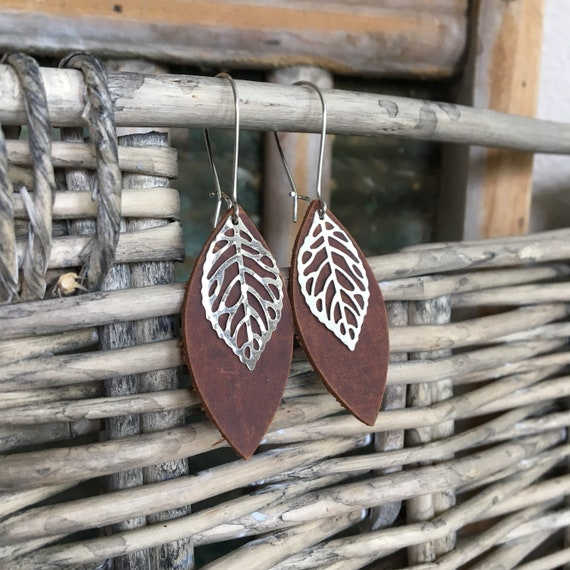 Leather Leaf Earrings - Rustic Brown Leather Petal with Metal Leaf Charm  - Small Lightweight Bohemian Dangle Earrings