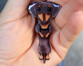 Black Dachshund (or wiener dog if you prefer) magnet for car locker or fridge: Great gift for dog lovers dachshund memorial
