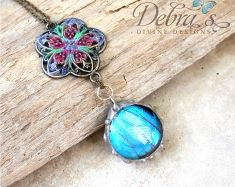 Blue Butterfly Wing Bubble Necklace with Handpainted Brass Flower Charm