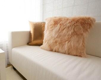 "Orange Faux Fur Soft Decorative Square Throw Pillow 18"" X 18"""