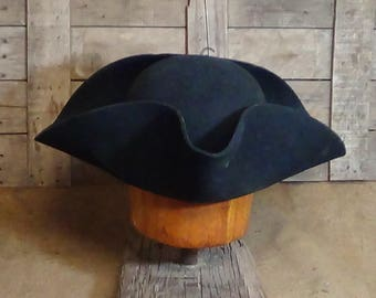 Militia Tricorn hat, Colonial, Militia, Revolutionary War, reenactment, historic, Lil Grizz, hand blocked, hand shaped, custom-fitted