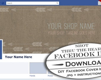 DIY Facebook Timeline Cover Image - Customizable Premade Arrows Facebook Like Page Header - Profile Cover Native American Modern Design