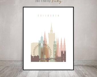 Edinburgh art print, Poster, Wall art,  Edinburgh skyline, Scotland cityscape, Travel poster, Home Decor,  ArtPrintsVicky.