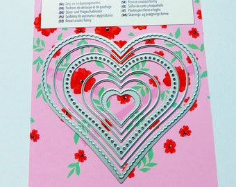 metal frame 6 stencils die cutting and embossing heart embossing cutting and embossing dies