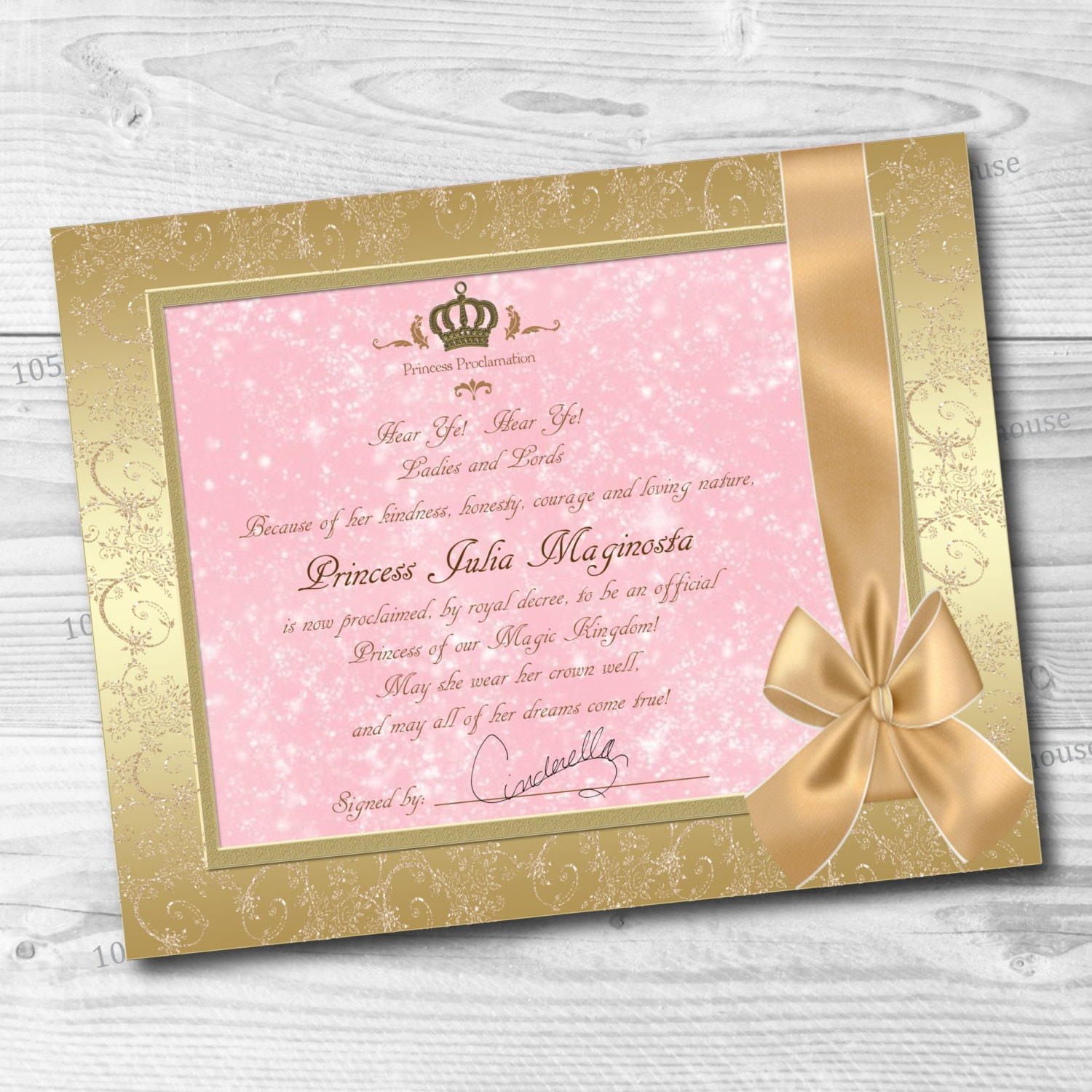 Custom princess proclamation printable pink and gold zoom xflitez Gallery