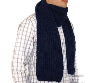 Dark blue mens scarf, Hand knitted mens scarf, Mens Scarf in Dark blue, extra long 78 inches