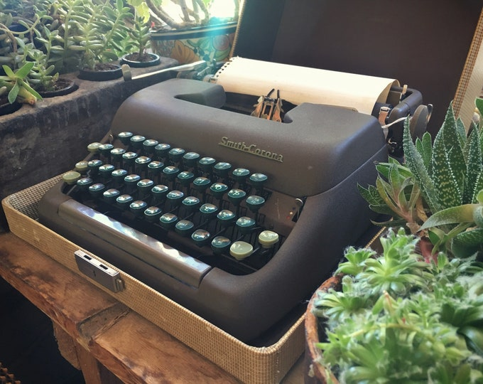 Featured listing image: 1950s Smith Corona Clipper Typewriter with Cover Carrying Case (Needs Ribbon) Vintage Office