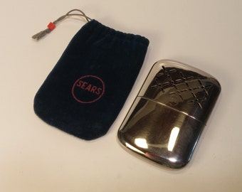 1960s Steel Hand Warmer made by SEARS in JAPAN, blue felt Sears embroidered bag