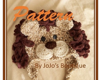 PDF Baby Lion Hat BONUS PATTERN - Baby Lion Hat with Bonus Tail - Crochet Pattern -  Lion Hat Tutorial  -  by JoJosBootique