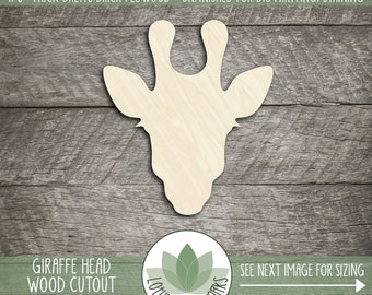 Giraffe Head Wood Laser Cut Shape, Wooden Giraffe Coutout, Unfinshed Wood Giraffe For DIY Projects, Many Size Options, Giraffe Nursery Decor