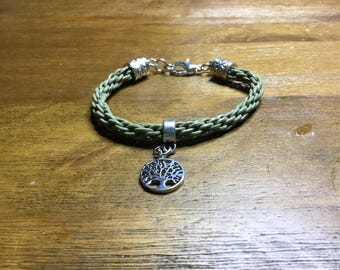 Olive Green Kumihimo Bracelet with Tree of Life Charm
