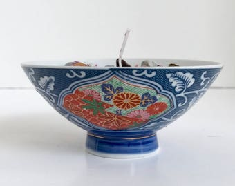 Jasmine Scented Soy Wax Candle in Porcelain Blue Floral Rice Bowl