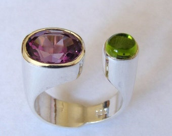 925 Sterling Silver Amethyst Peridot Ring