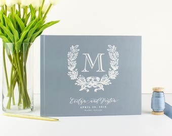 Dusty Blue Guest Book for Wedding Rustic, Personalized Guest Book Wedding Guest Book Monogram, Wedding Book Guest Book Initial