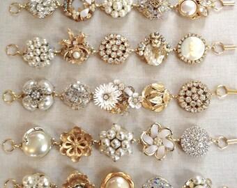 1 Vintage earring bracelet, gold, pearl, rhinestone, vintage, floral, gold, silver, repurposed jewelry, bridesmaid, cluster earring bracelet