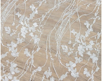 Wedding Lace fabric with floral elements, soft embroidered bridal lace, Alencon Lace, floral lace fabric, Butterfly Lace - (L17-009)