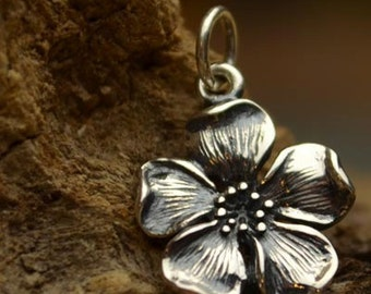 Sterling Silver Cherry Blossom Flower Charm