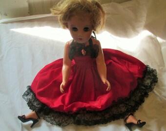 Vintage Miss Revlon Type Doll Original Outfit High Heel Shoes Stockings Panties Hard Plastic/Vinyl Sleepy Eyes Vintage 1950s 50s  Teen Doll