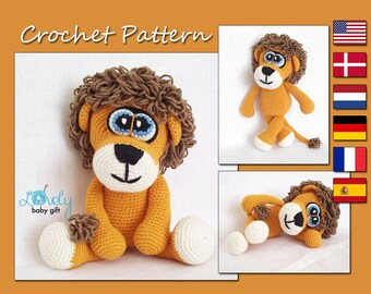 Crochet Pattern, Amigurumi Lion Pattern, Crochet Animal Pattern, Pdf, CP-119