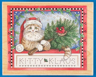 Christmas Cat Rubber Stamp - Kitty Klaus in Santa Hat with Christmas Tree and Cardinal Nest - Stamps Happen