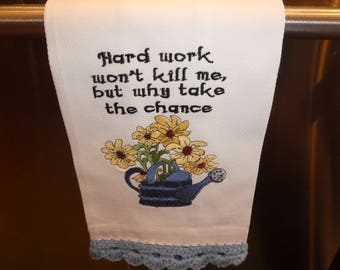 Kitchen towel, humor, flowers, machine embroidery, cotton towel, crochet, kitchen decor, watering can, housewarming gift