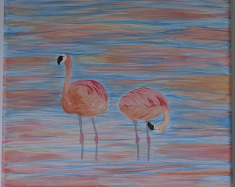 Pink flamingos standing in blue water at sunset - Original acrylic painting on canvas - Art for spring/summer wall decoration