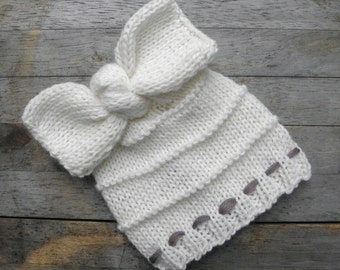 Baby hat hand knit newborn hat big bow knot in creamy white ivory or choose color australian wool photography photo prop girl
