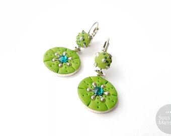 Round earrings green polymer clay, greenery earrings