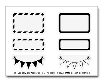 "Ms. Kimm Creates Decorative Boxes & Flag Banners 3""X4 Photopolymer Clear Stamp Set - Journal, Planner, Icons, Borders, Banner, Flag"