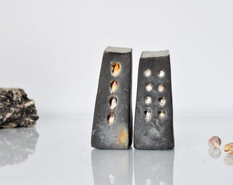 Arhitectural Black Raku fired Ceramic houses Handmade Unique Ceramics  Home decor City buildings  Raku pottery, black, gold and silver glaze