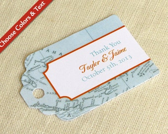 "Caribbean Map Wedding Favor Tag -  Jamaica Bahamas Cruise - Destination Travel - Bridal Shower Gift - Choose Colors and Text - 2.75"" x 1.75"""