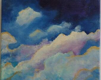 Art Abstraction Œuvre artistique abstrait Tableau Nuages bleu violet Beige Doré Décoration moderne Format carré 20 x 20 cm 8 x 8 inch