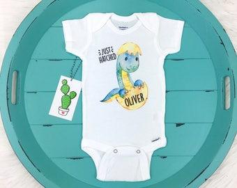 Dinosaur Onesie, Just Hatched Onesie, Baby Boy, Coming Home Outfit, Custom Boy Onesie, Personalized Onesie, Newborn Outfit, Baby Boy Gift