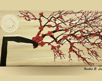 Cherry Blossom Painting Modern Contemporary Red Beige Zen Flowers Trees Textured Large Art Made To Order