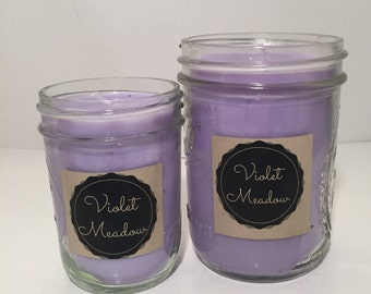 Mason Jar Candle, Violet Meadow Soy Wax Handmade Candle, Floral Candle