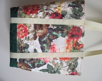 """Roses and Butterflies Tote, Quilted with Lots of Pockets, One of A Kind Suedecloth Carryall, 13.5 """" H, 16"""" W,  Fully Lined"""