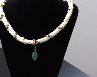 Green Jade on White Cotton Necklace