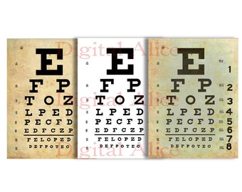 Vintage  EYE EXAM CHART - Instant Printable Download - 3 finishes - 8.5 x 11 in  Wall Art