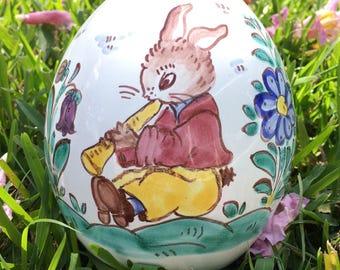 Vintage Easter Bunny Rabbit Egg Shaped Piggy Bank