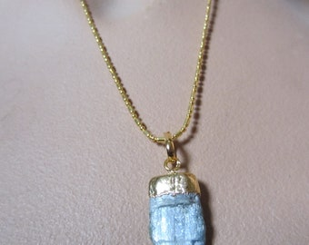 Blue Stone Pendant Necklace Kyanite Necklace Gold Filled Ball Chain Gemstone Pendant