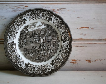 Brown Transferware, Royal Staffordshire Ironstone, Stratford Stage, Holiday Tableware, English Ironstone, Vintage Ironstone