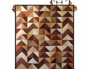 Quilt - Brown, camel & beige - Lap Throw size - Ready to ship