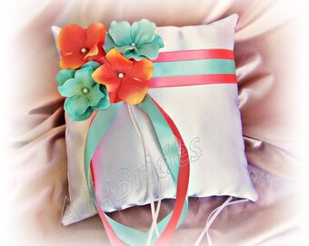 Wedding pillow, Coral and Aqua ring bearer pillow.
