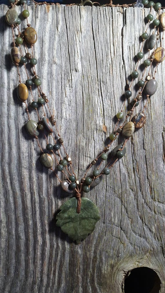 Green Leaf Jasper and Jade Necklace