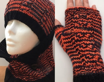 Set hat, cowl and fingerless 100% Merino hand dyed