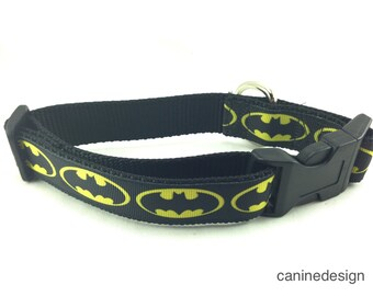 Dog Collar, Batman,  adjustable, 1 inch, medium, 15-22 inches, heavy nylon, quick release buckle