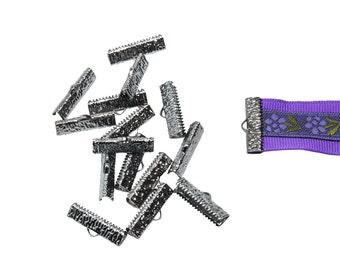 150 pieces  22mm  (7/8 inch)  Gunmetal Ribbon Clamp End Crimps - Artisan Series